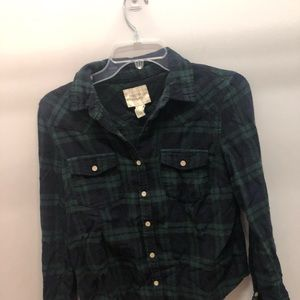 Forever 22 green button up flannel